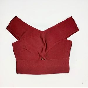 Cropped Bandage Top with Criss-Cross